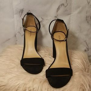 Black ankle strap sandals with block heel